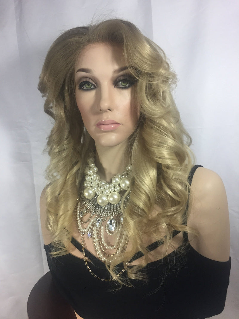 Natural Blond Balayage Remy Human Hair Full Lace Wig - Anita