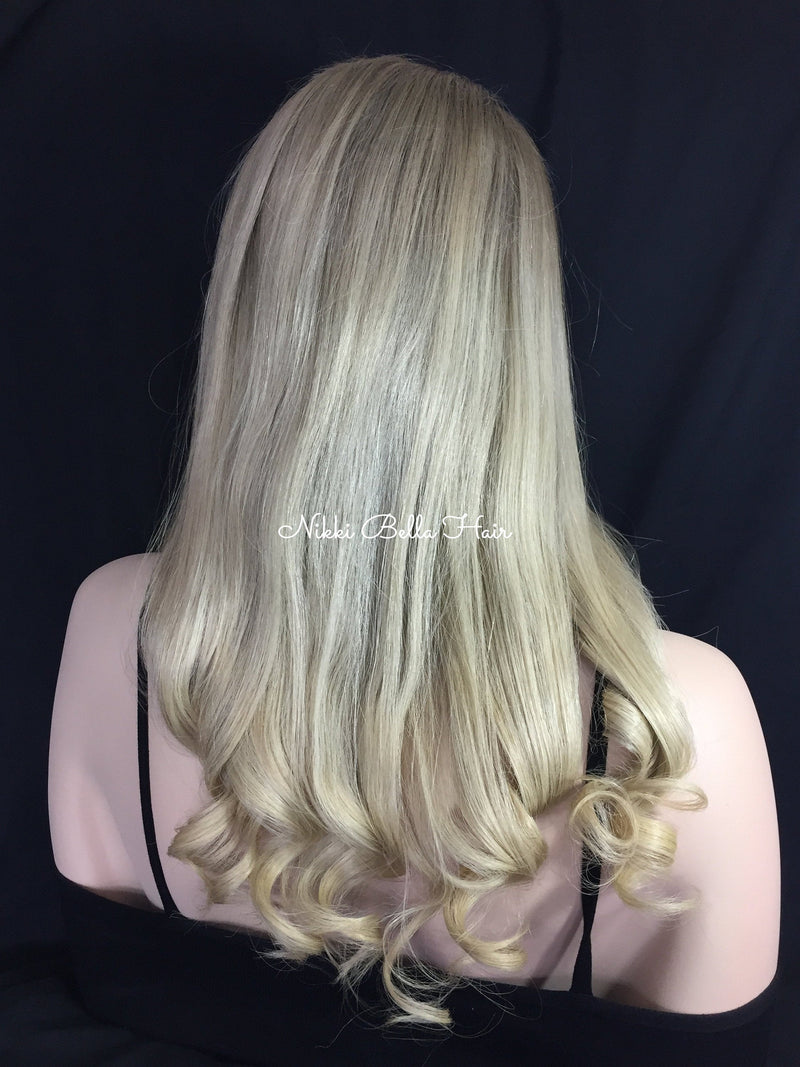 Ash Light Blonde Remy Human Hair Full Lace Wig - Darlene