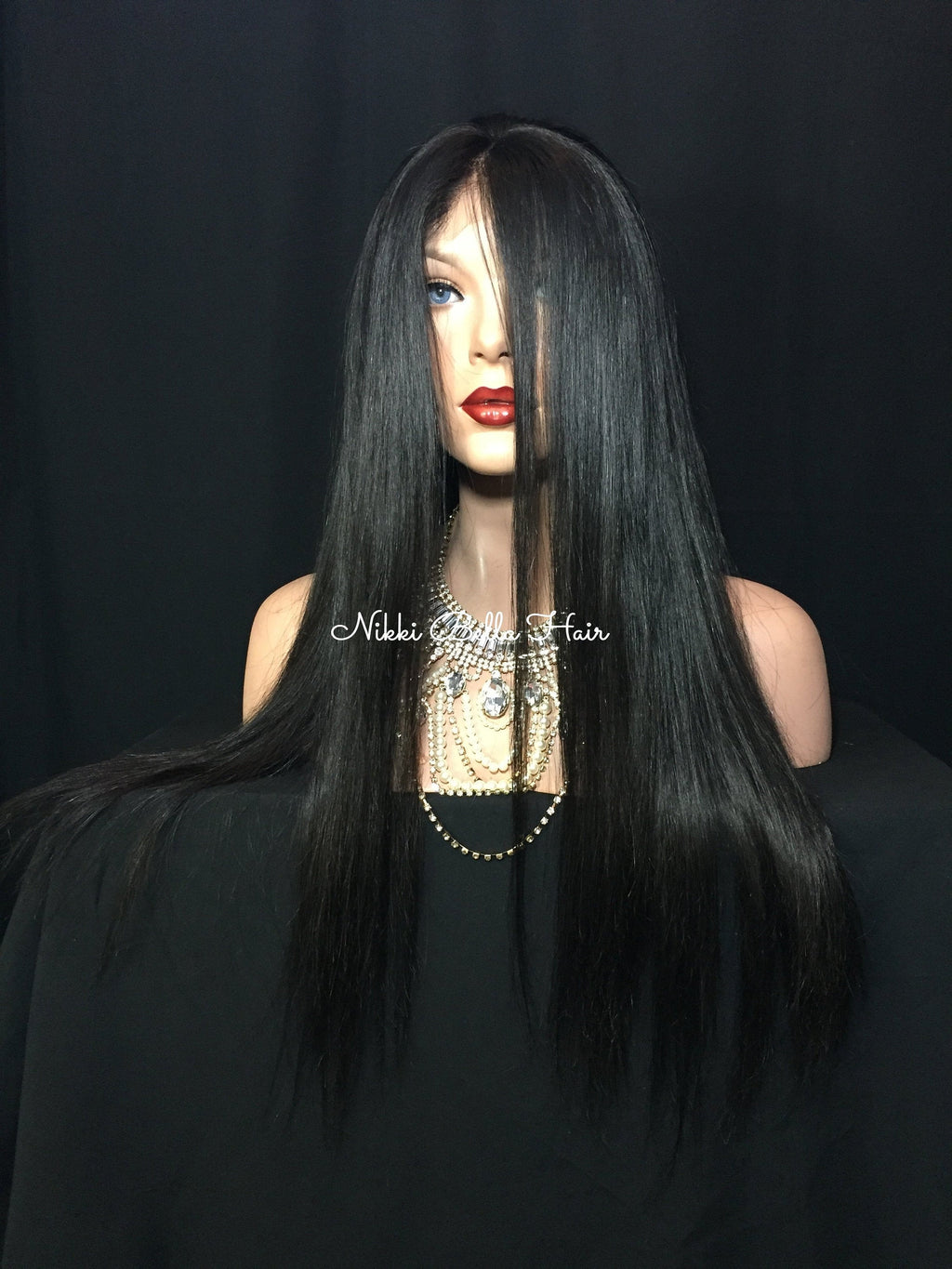 Black Remy Human Hair Silk Full Lace Wig - Letiza