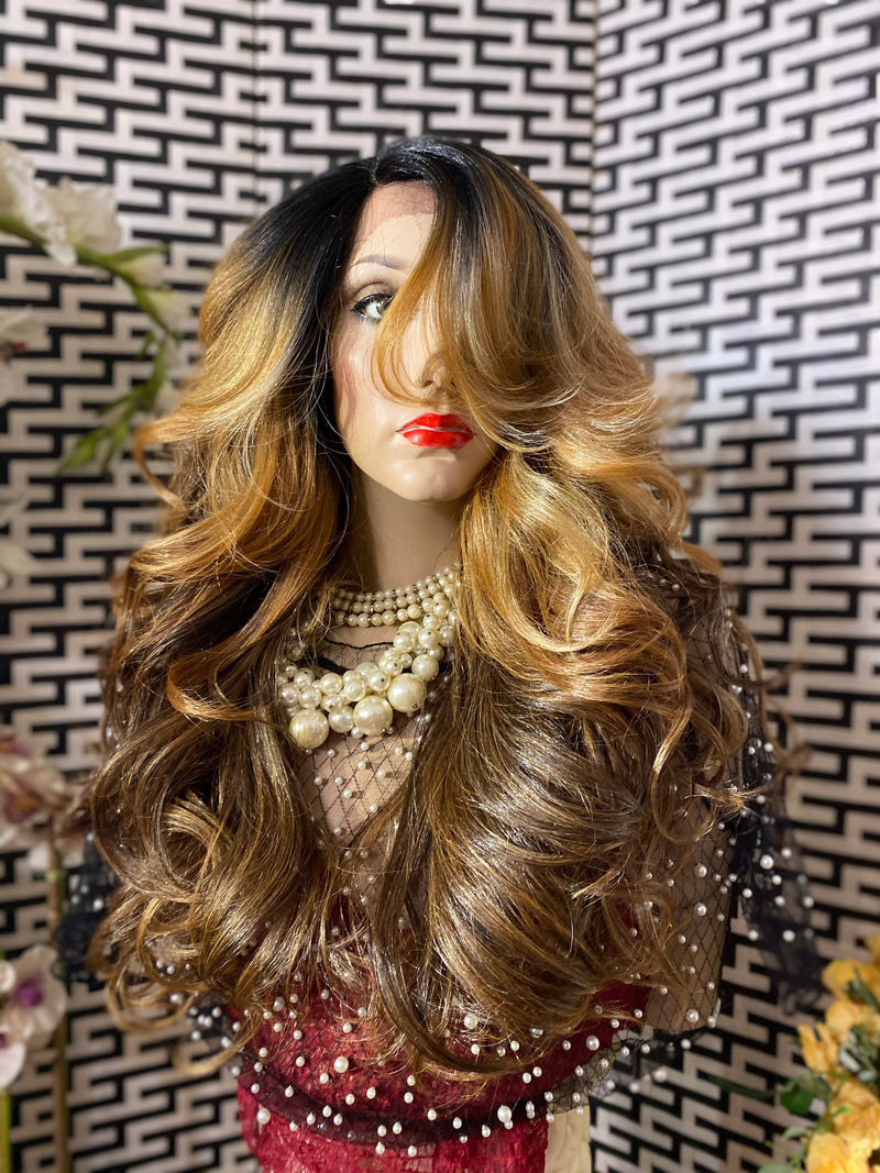"BALAYAGE HONEY BROWN 22"" soft waves hair