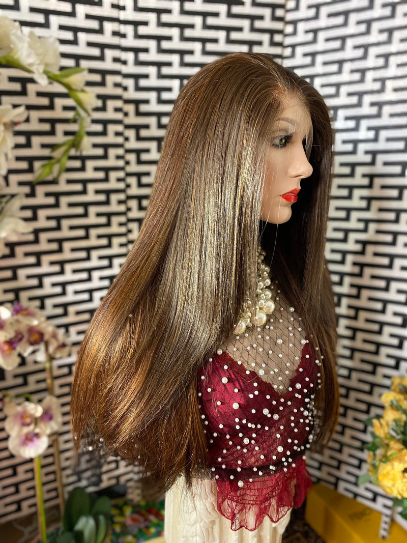 "BALAYAGE CHOCOLATE BROWN 24"" silky soft straight hair