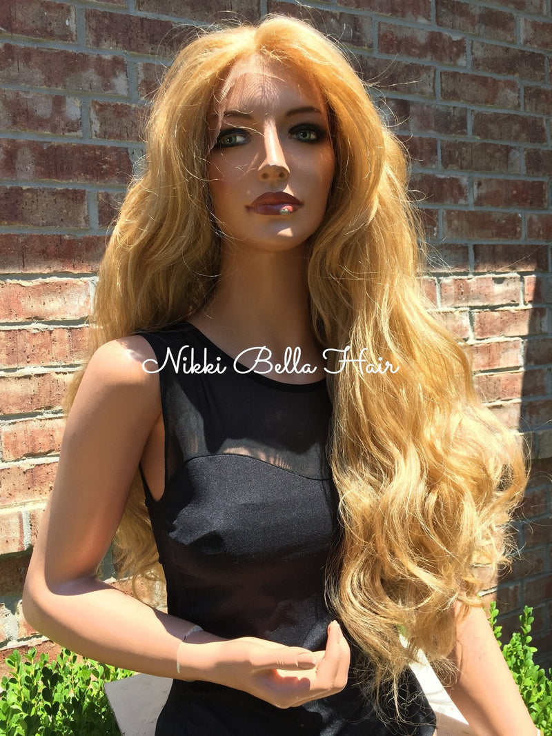 Blond Waves Human Hair Blend Multi Parting Lace front wig 26""