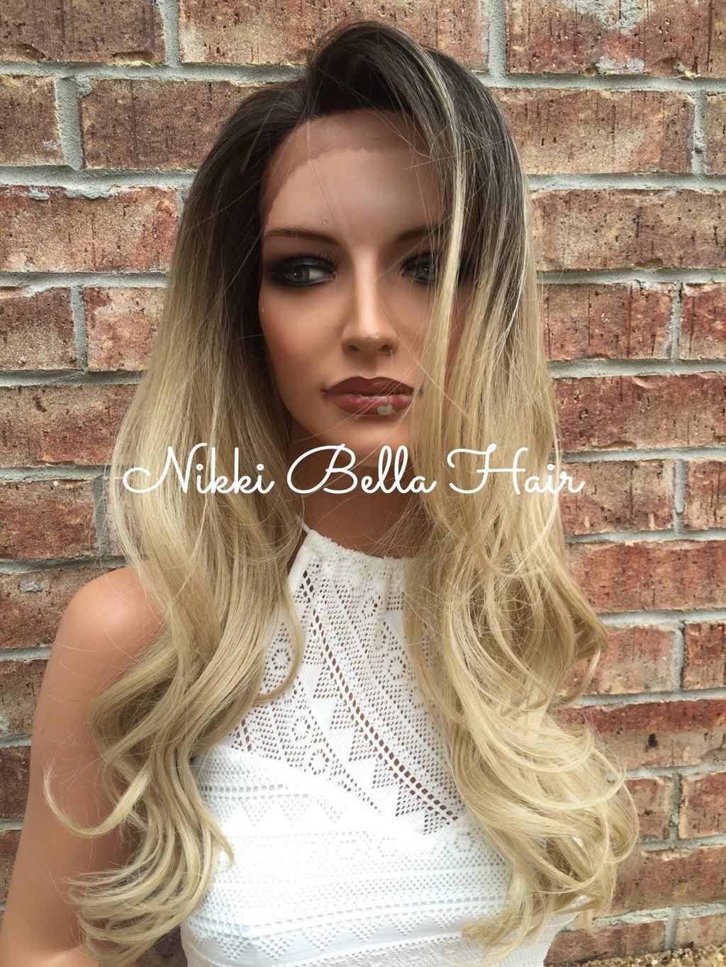 "Ash Blonde Ombre' Lace Front Wig 22"" - Aniston"