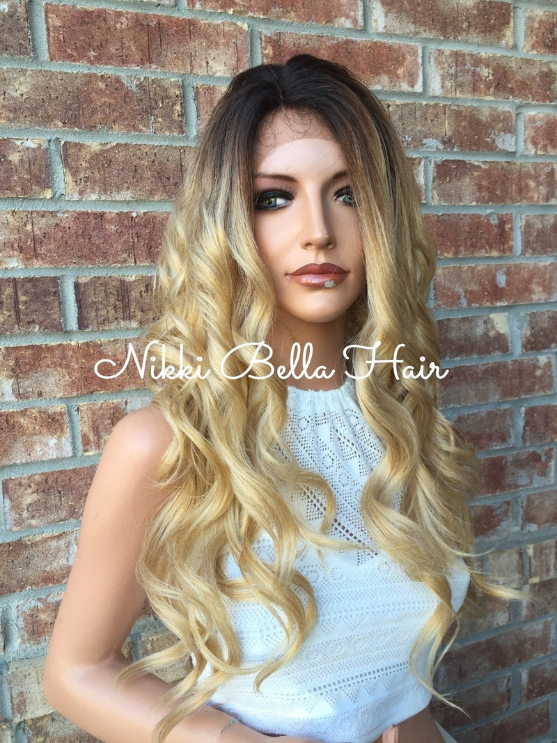 Blake Dark Blonde Roots Ombré Human Hair Blend Multi Parting Lace front wig 24""
