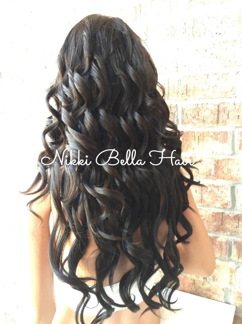Avery Human Hair Blend Multi Parting Dark brown long curls lace front wig 24""