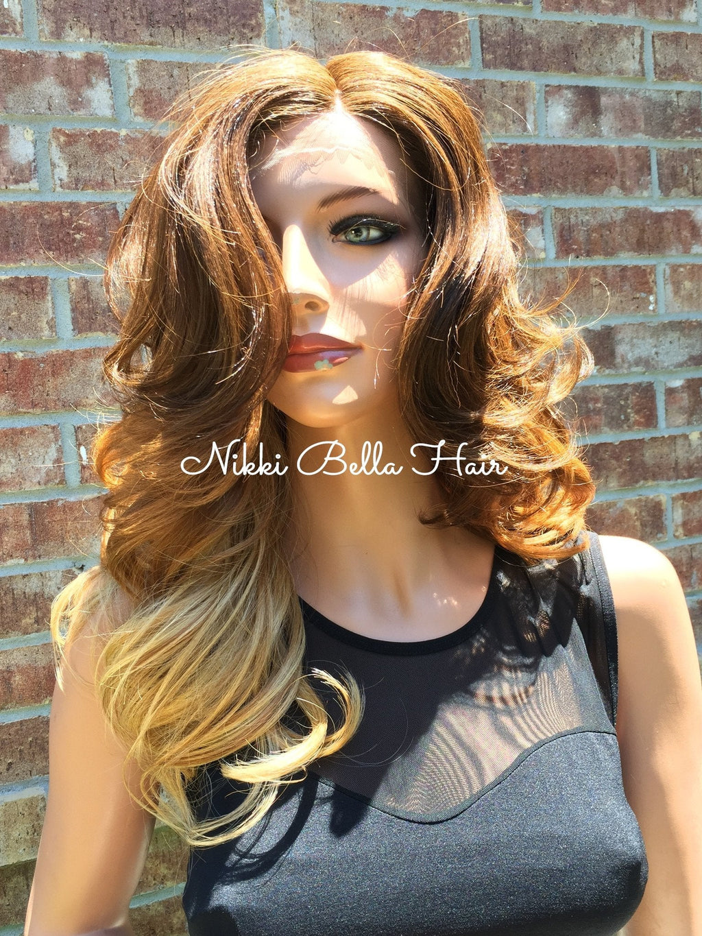 Ombre Dark Auburn to Light Blond Curls Lace front wig 14""