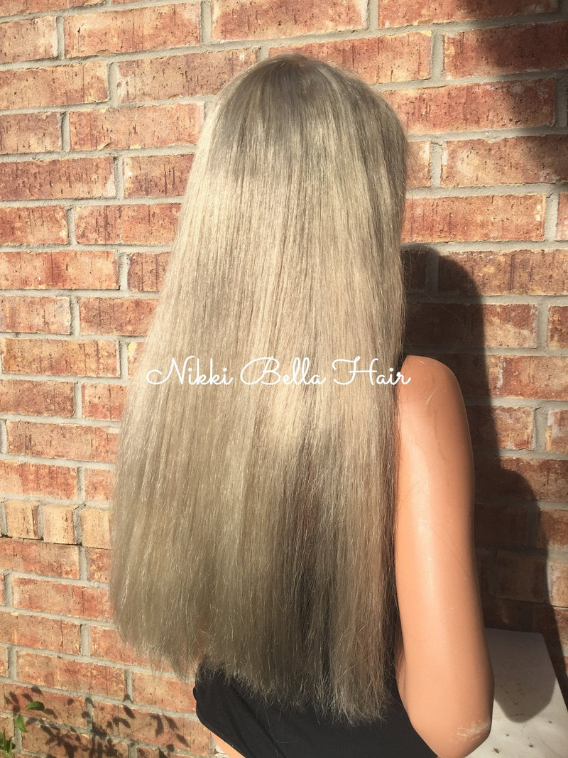 Full Lace Wig Ash Blonde Multi Parting Human Hair -Rina