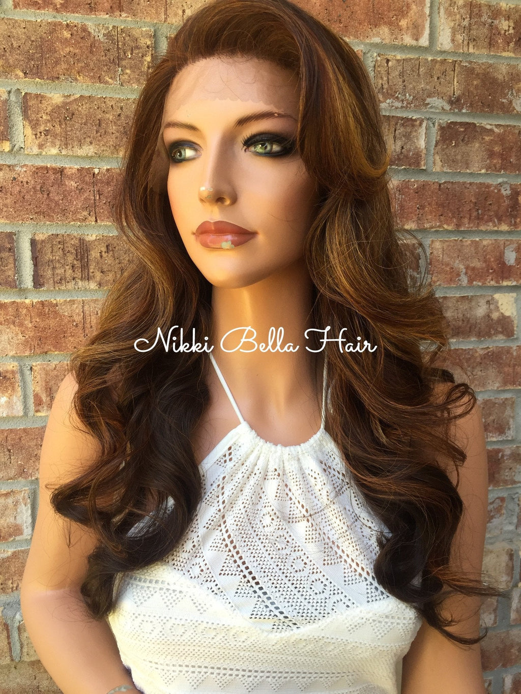 Bobbi Brunette Ombre Multi Parting Human Hair Blend lace front wig 22""