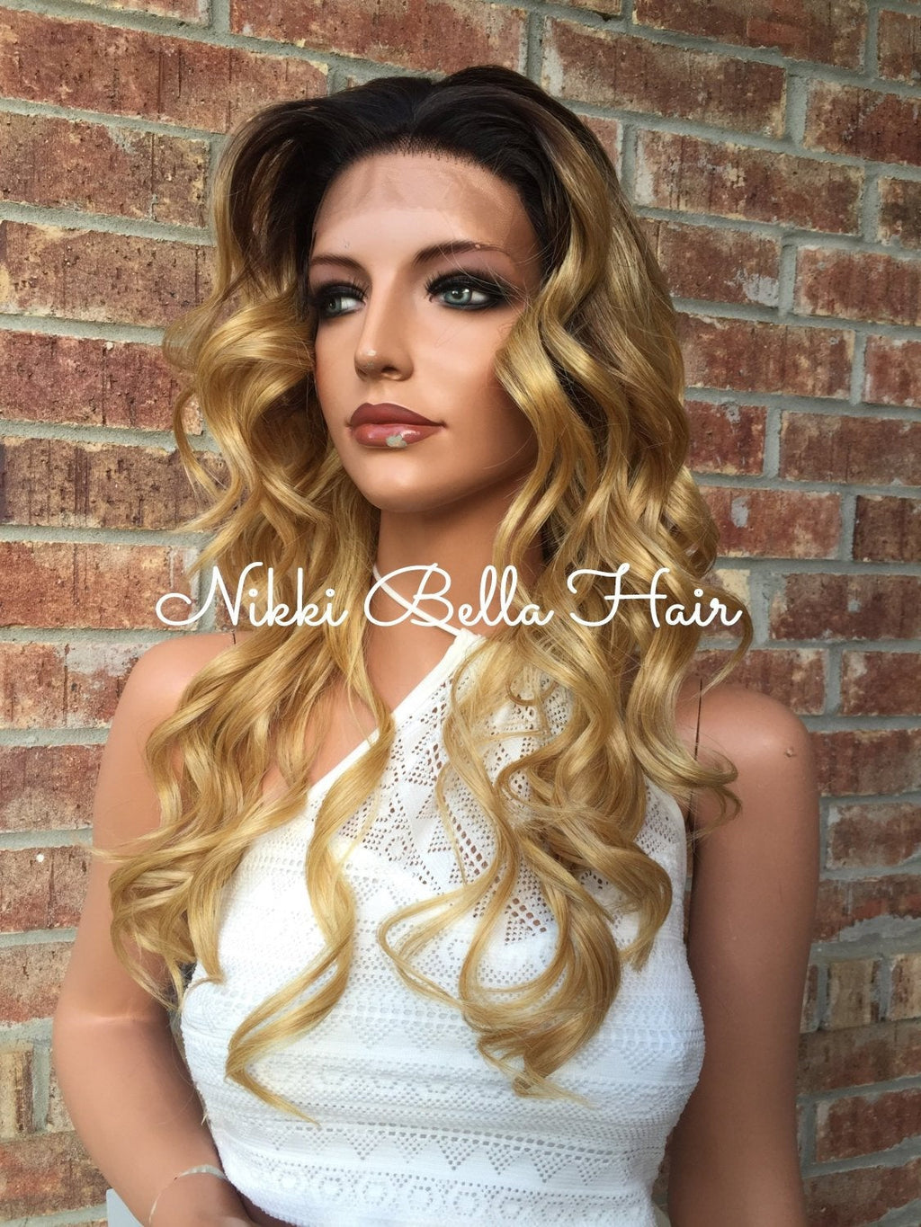 Cara Blonde Beach Waves Rooted Multi Parting Blend Human Hair Lace Wig 16""
