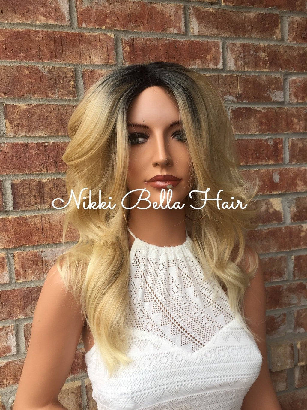 Hailee Human Hair Blend Multi Parting Beach Wave Ombre Rooted Lace Front Wig
