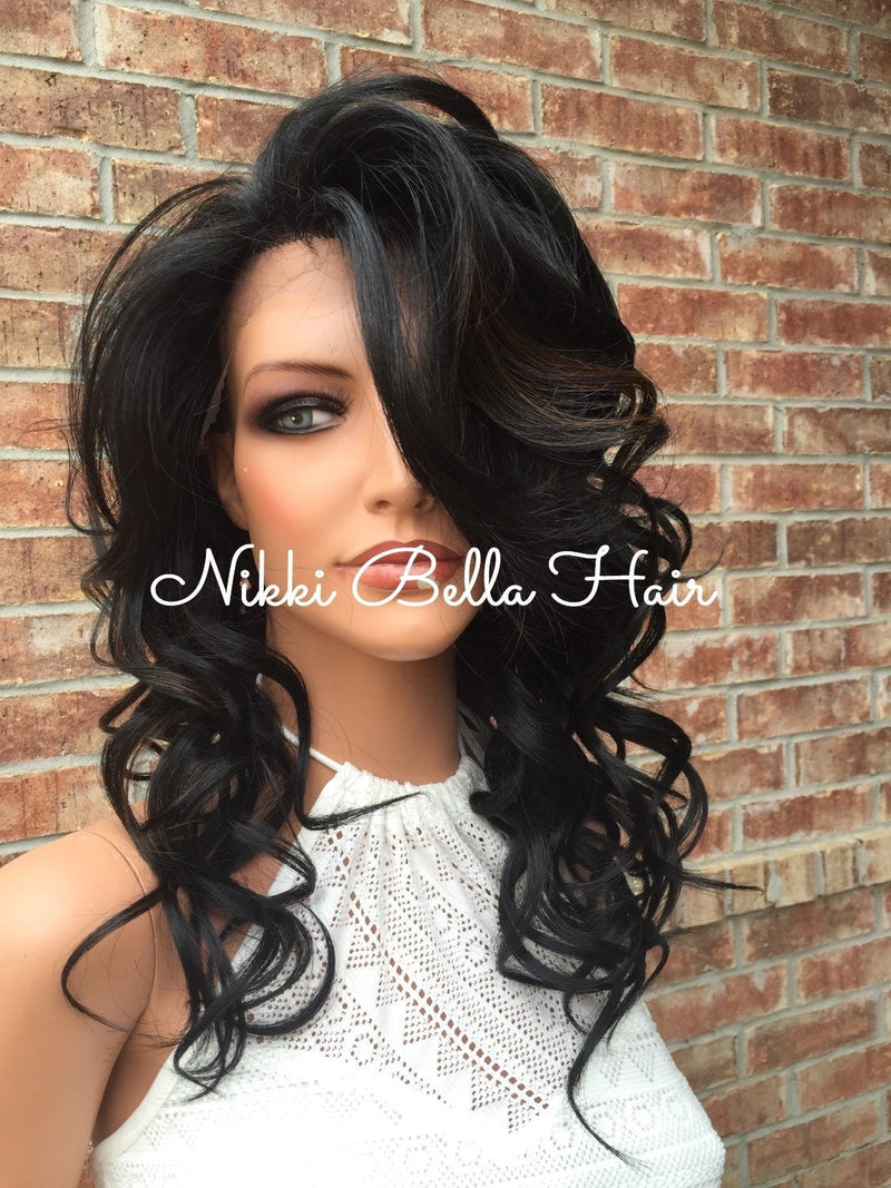 Sky Whole Full Lace Handtied Human Hair Blend Lace Wig 16