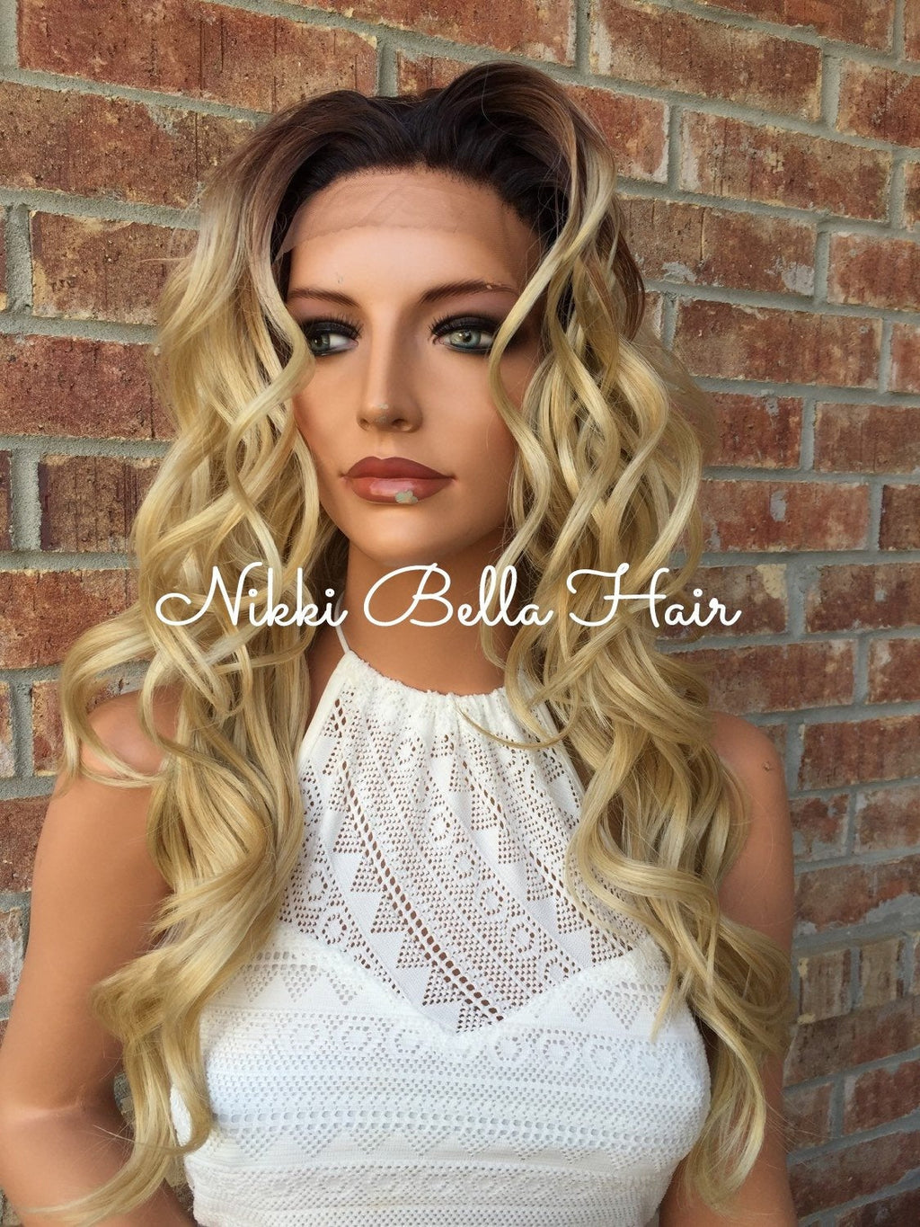 Golden Honey Bayalage Ombre Human Hair Blend Multi Parting Lace Wig - Nadia