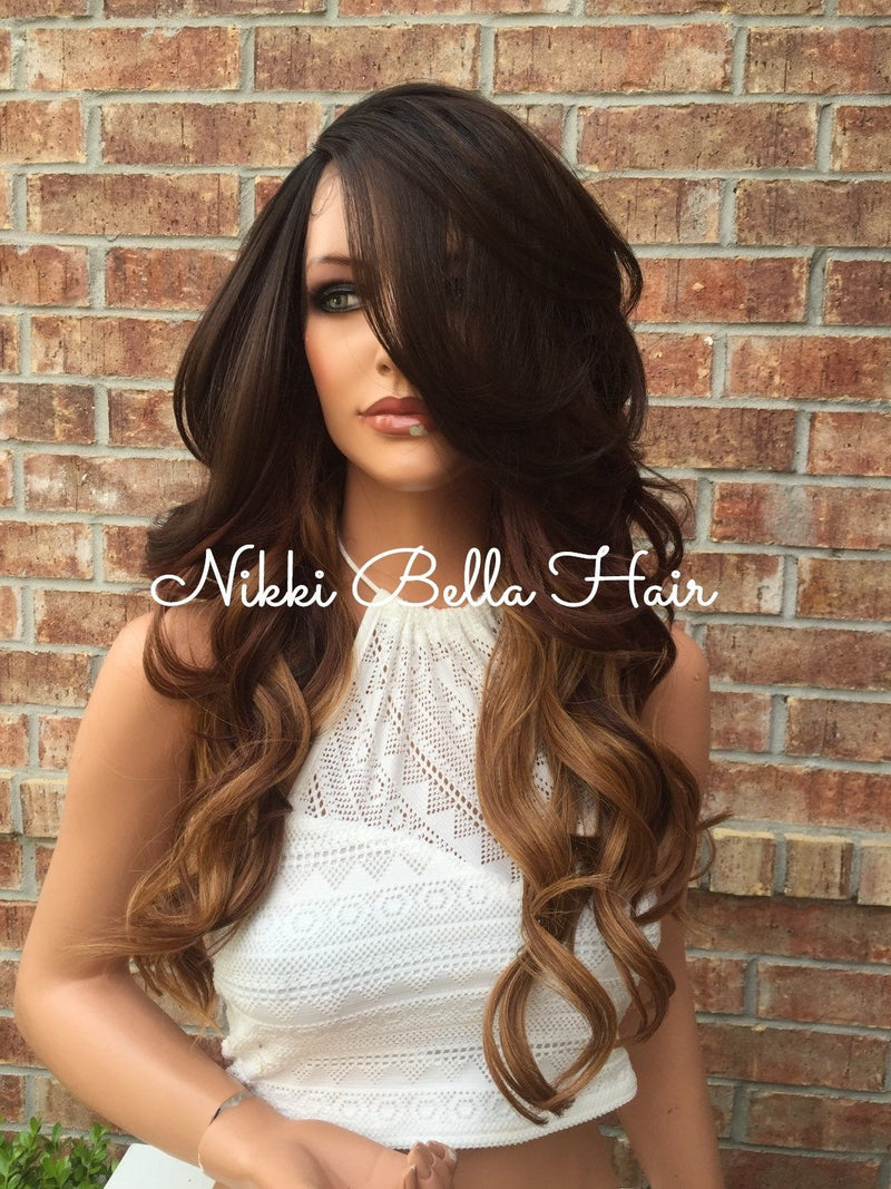 "Haylee Brown Ombre Multi Parting Human Hair Blend Front Lace Wig 18"" Full Fringe"