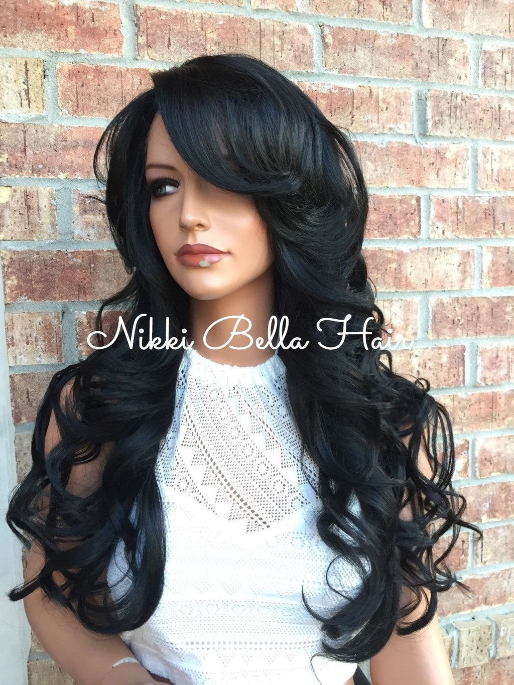 "Jet Black Volume Curls Multi Parting Human Hair Blend Lace Wig 24"" Hot Rollers"