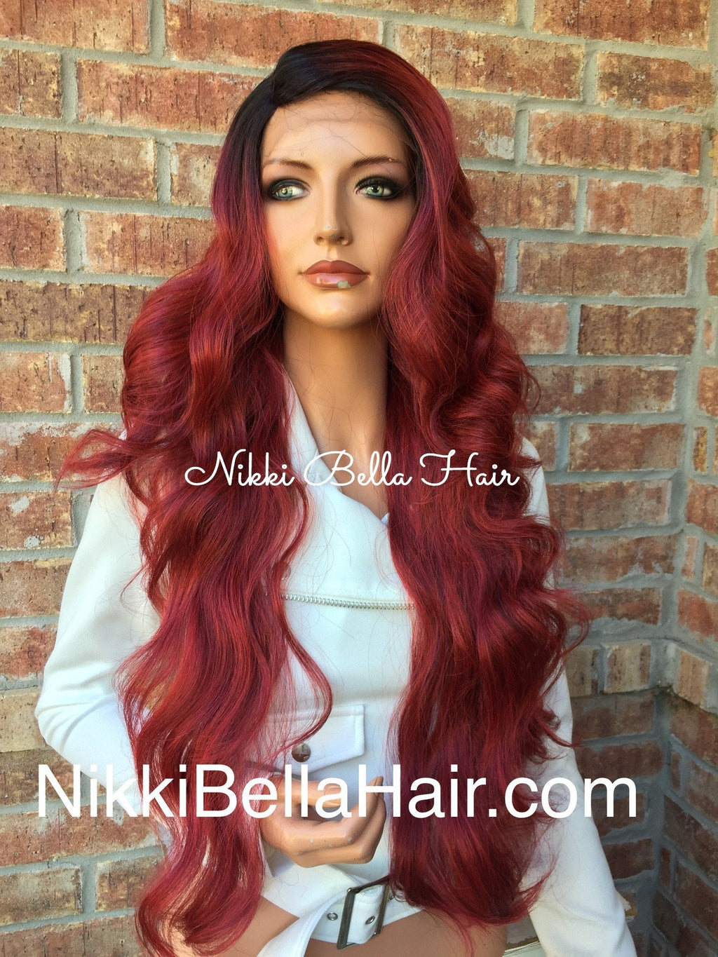 Red a Ombre' Swiss lace front wig 26""