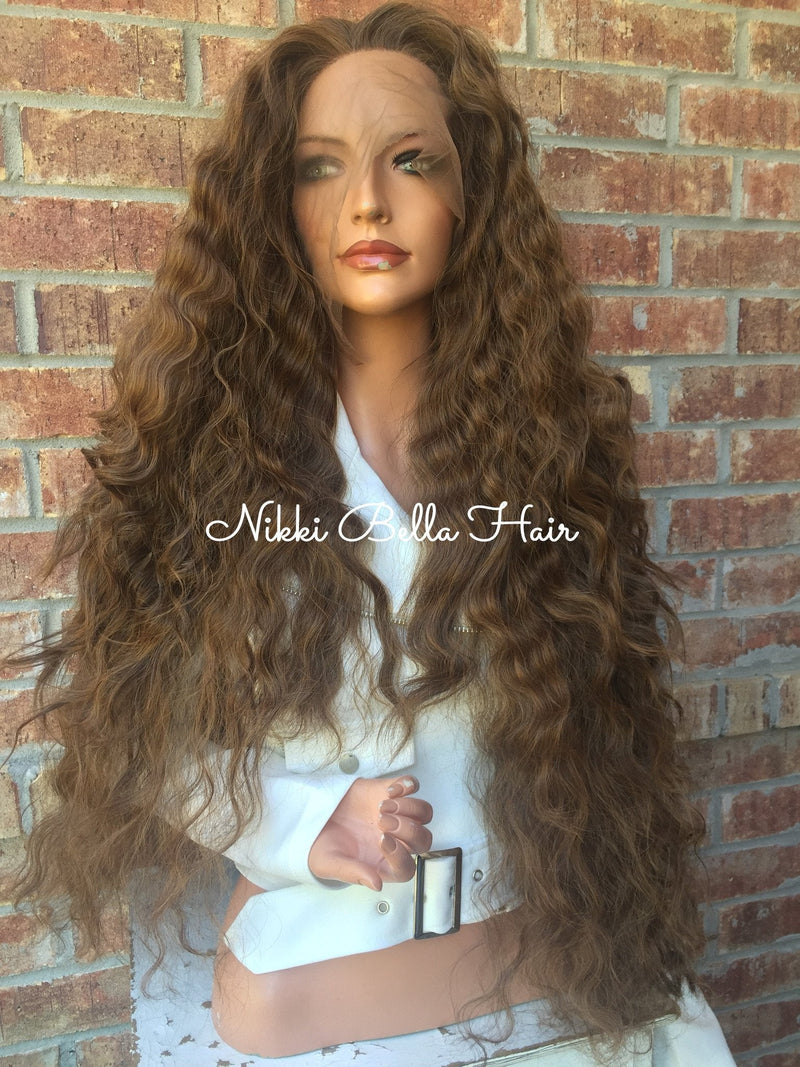 "Long Light Brown Waves 26"" Lace Front Wig"
