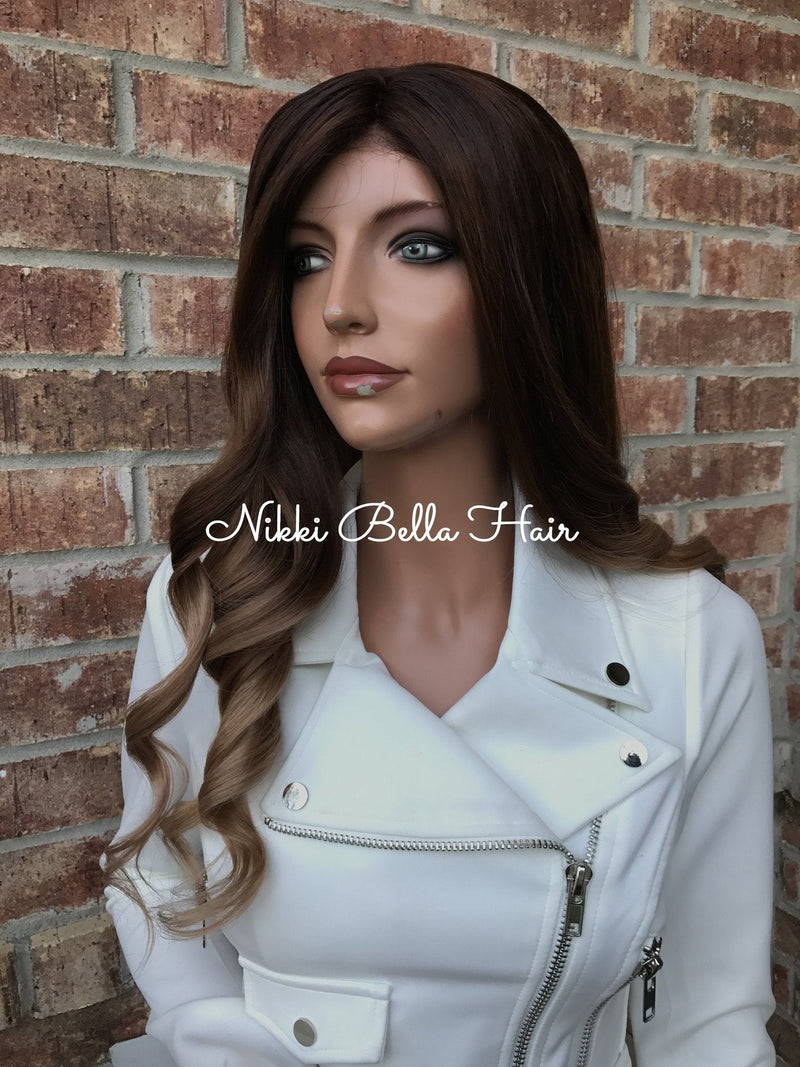 Brunette Balayage Human Hair Multi Parting Full Lace Wig