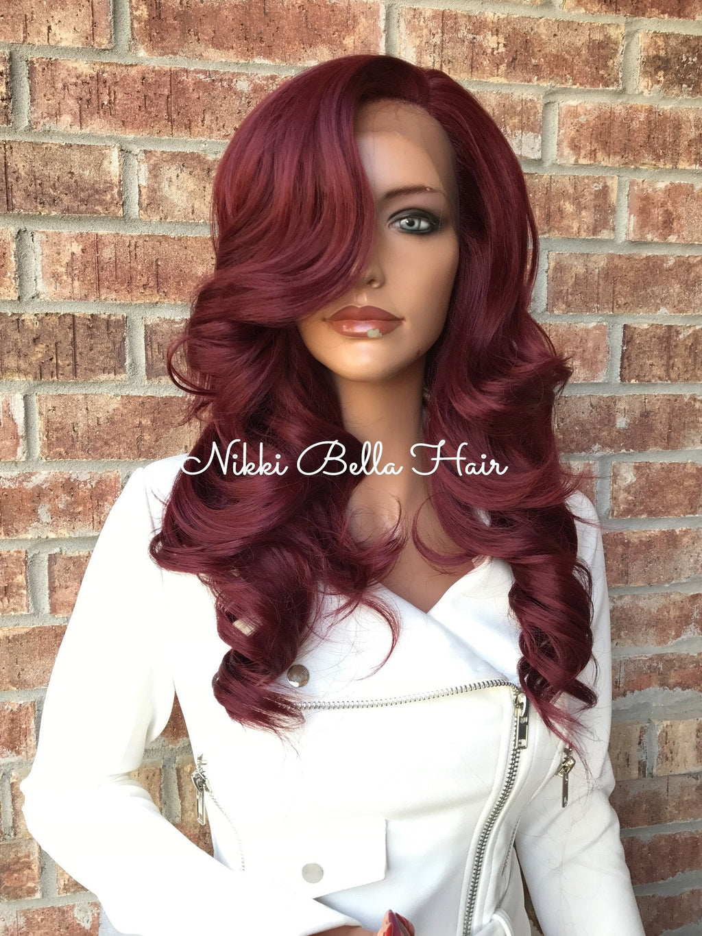 Upart Develigne Burgandy Human Hair Multi Parting Lace Front Wig