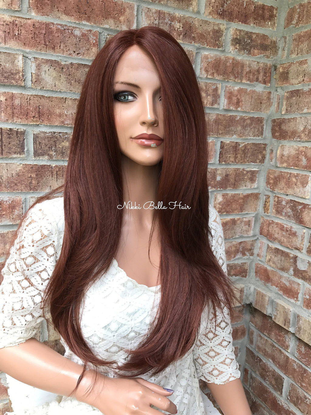 "Natural Red Straight Human Hair Blend Multi Parting lace front wig 24"" 41722"