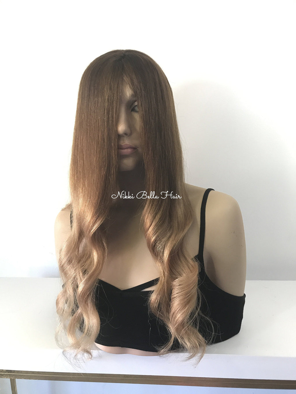 Balayage' Brunette Full Lace Human Hair wig 18""