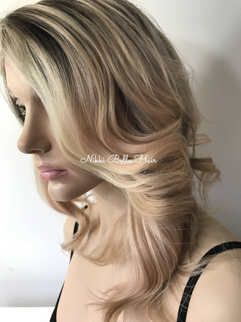 Light Blond Balayage' Human Hair Multi Parting Full Lace wig 12""