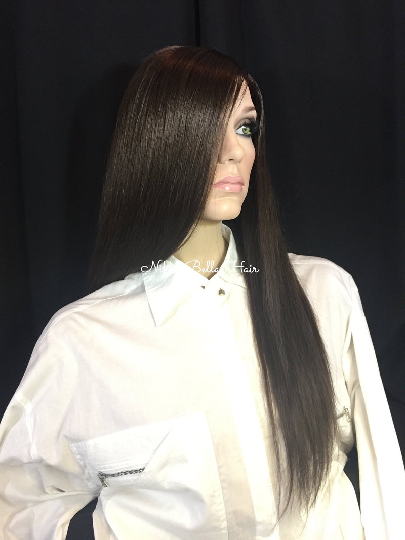 Dark Brown Remy Human Hair Full Lace Wig - Stephanie