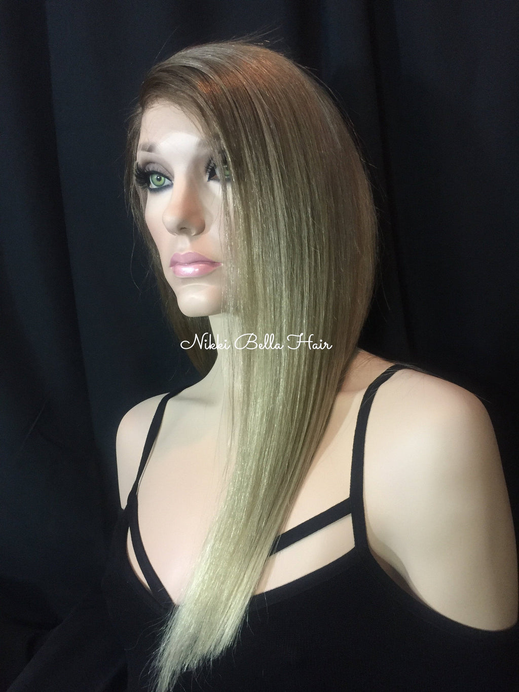 Light Ash Blond Balayage Remy Human Hair Full Lace Wig - Sara