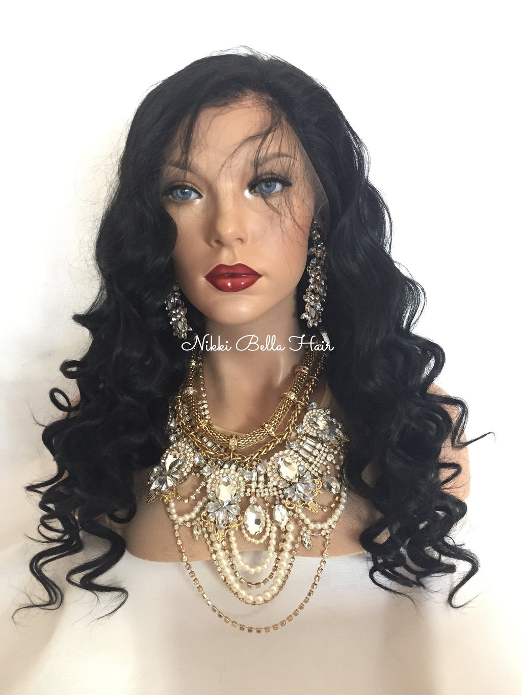 Jet Black Remy Human Hair Front Lace Wig - Rosa