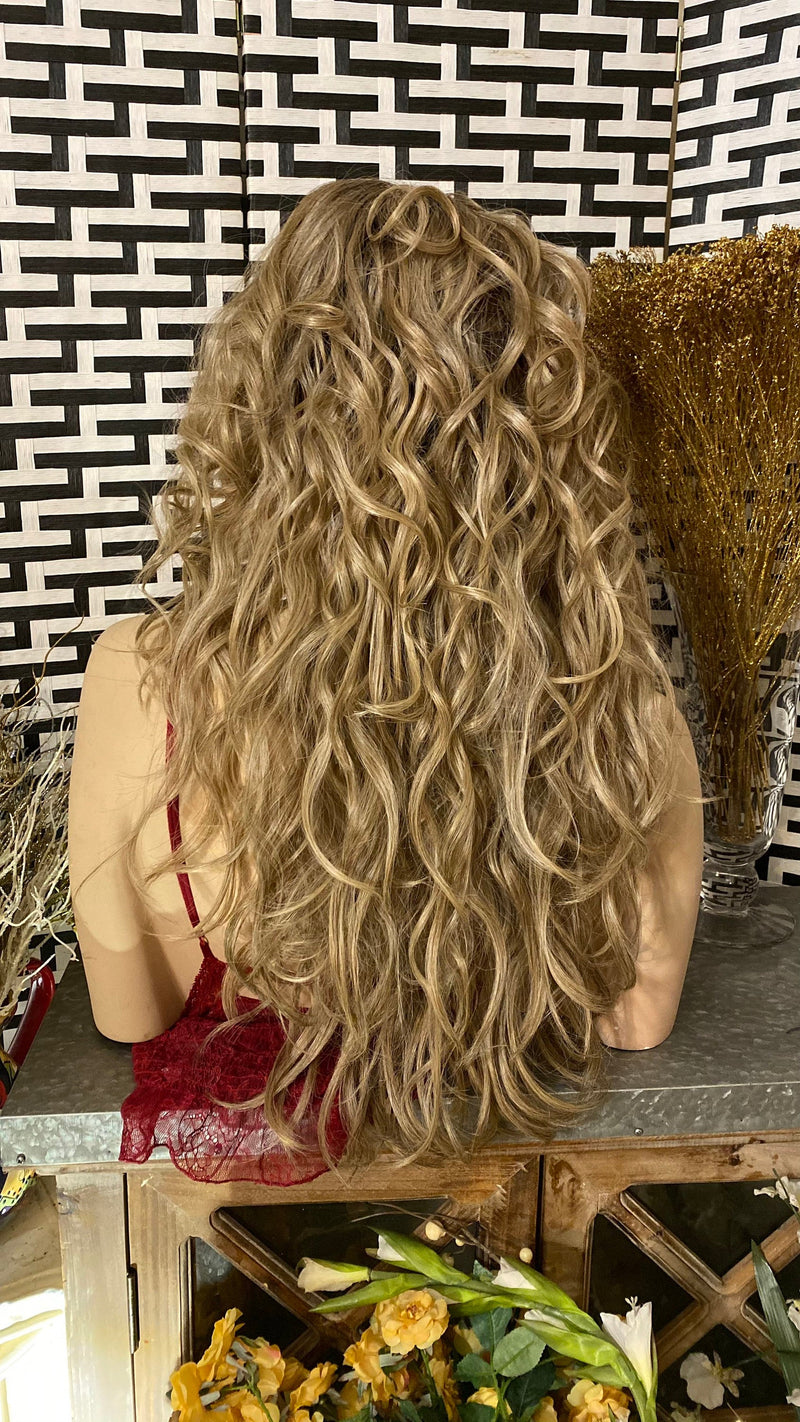 "SANDY BLONDE | 22"" Long Ombré Messy Wavy layered 13x7 HD Lace Frontal wig"