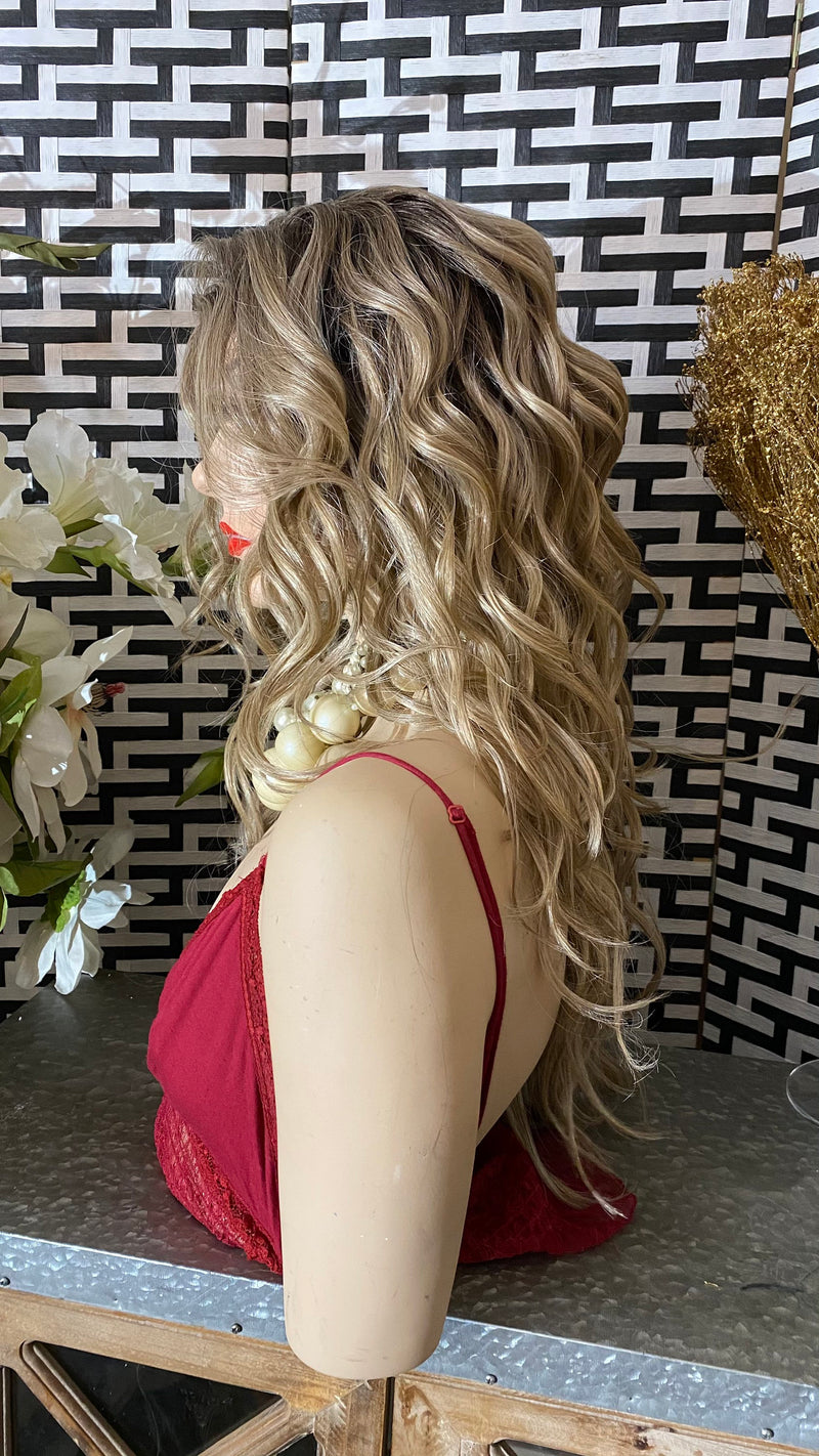 "ROOTED Ash BLONDE | 22"" Long Ombré Messy Wavy layered 13x7 HD Lace Frontal wig"