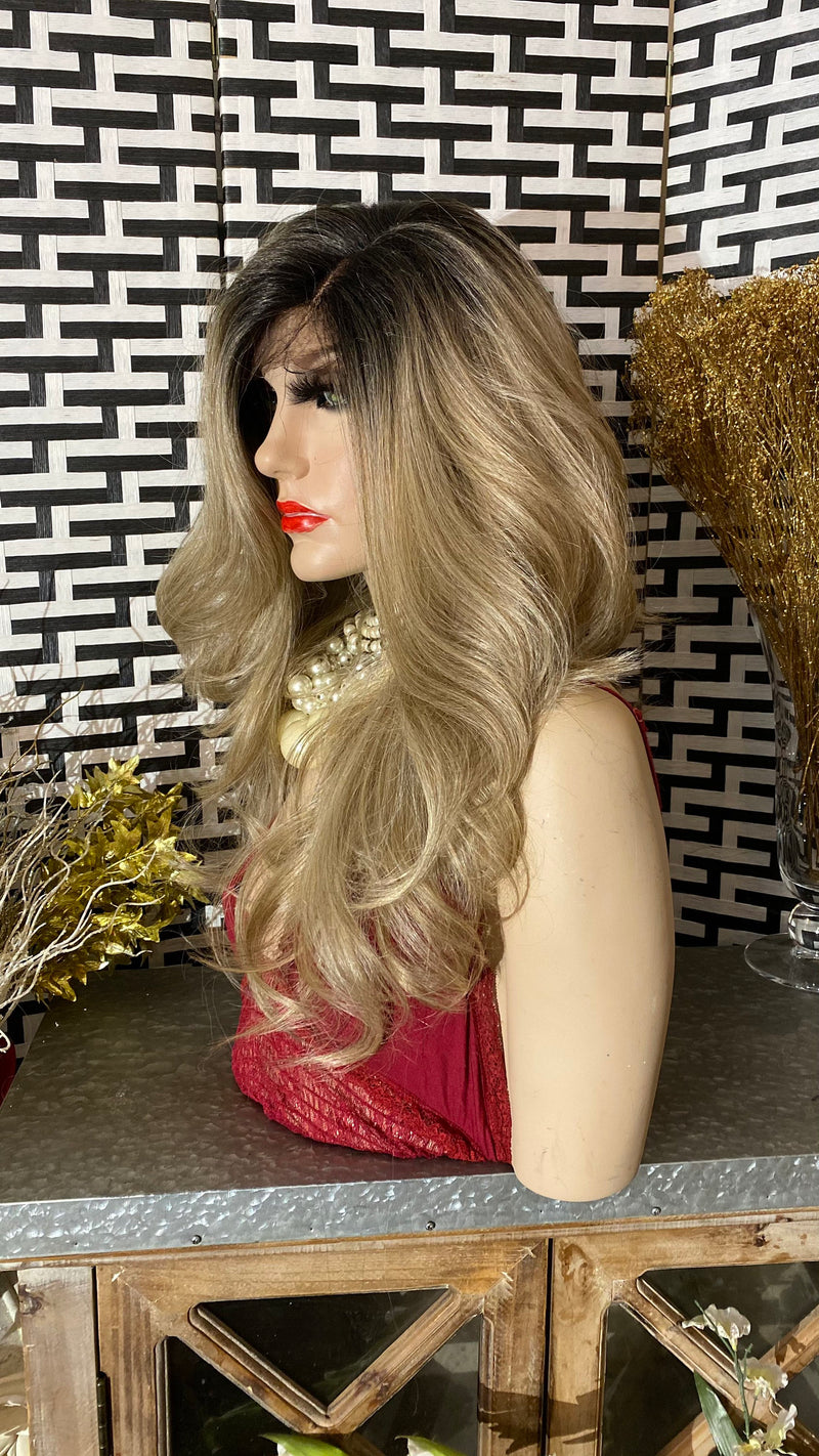 "ROOTED Ash BLONDE | 18""Long Ombré Swiss Lace Front wig"