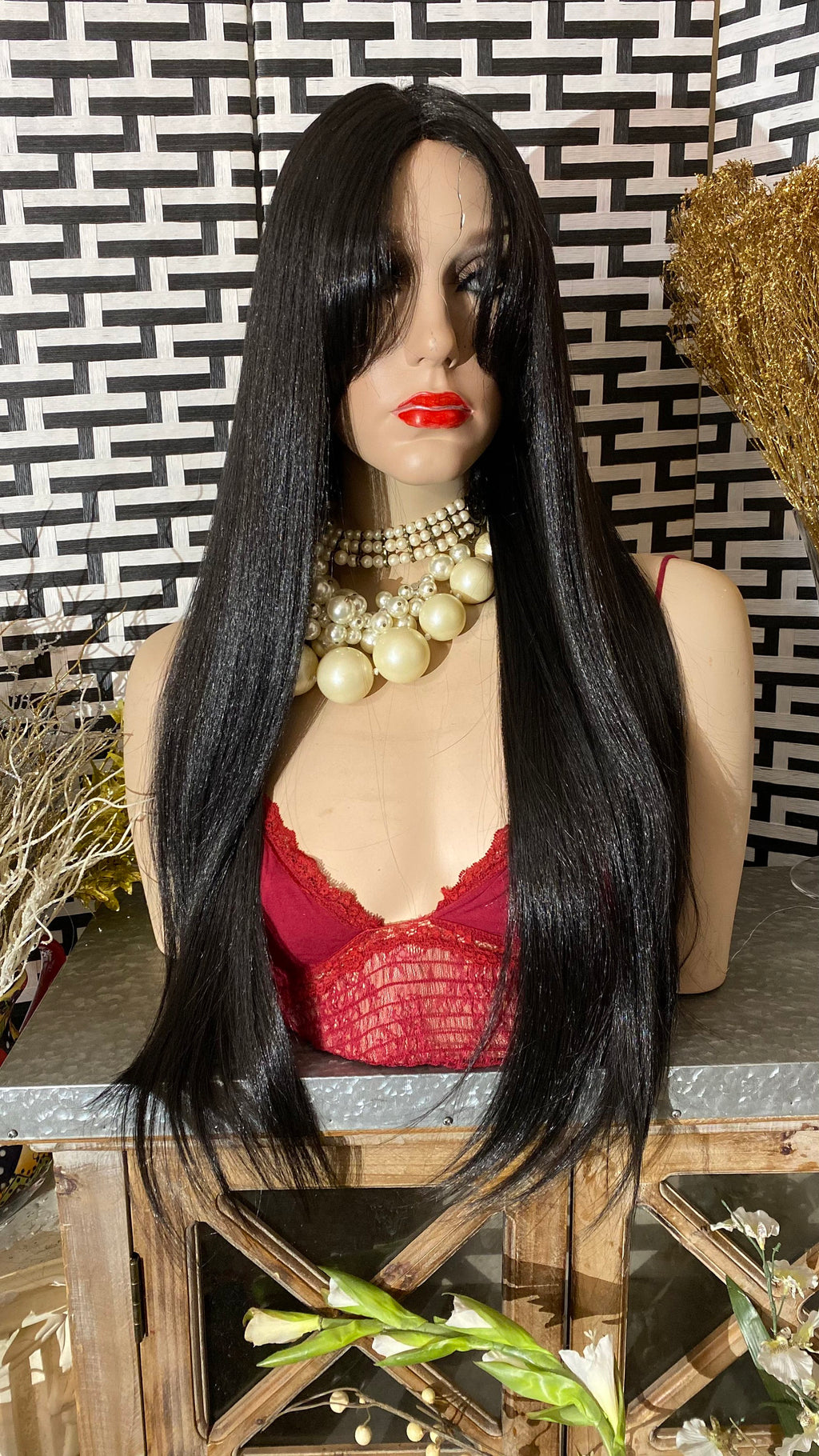 "SILKY BLACK| 26""Long Face Framing Bangs Swiss Lace Front wig"