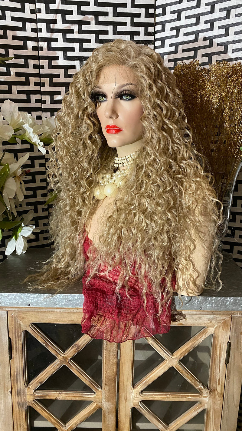 "ASH BLONDE | 28"" Wavy Silk Top 13x6 Swiss Lace Front wig"