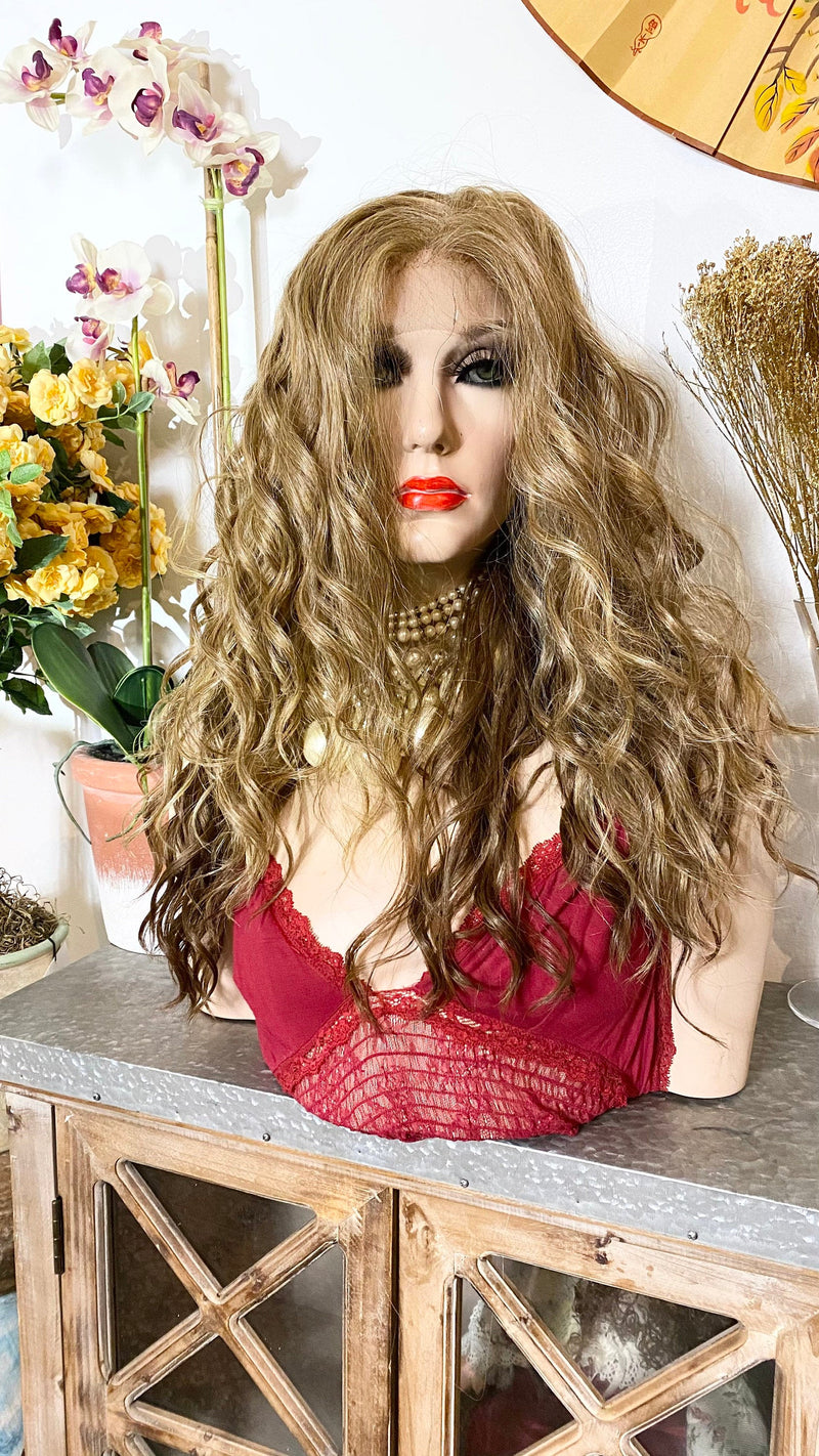 "PAM | Balayage brown wavy hair | 13x13 HD lace front wig 22"" long w/ FULL invisible hairline"