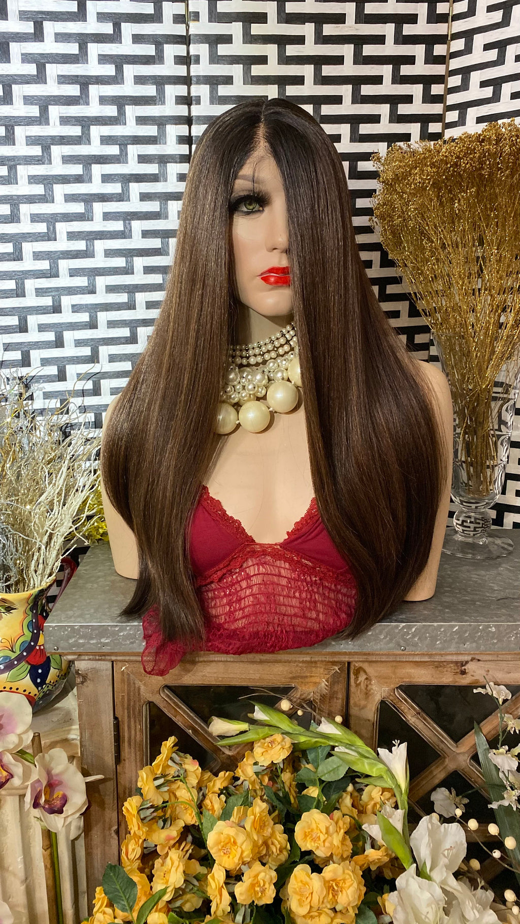 "BALAYAGE brown 22"" Middle part straight hair 