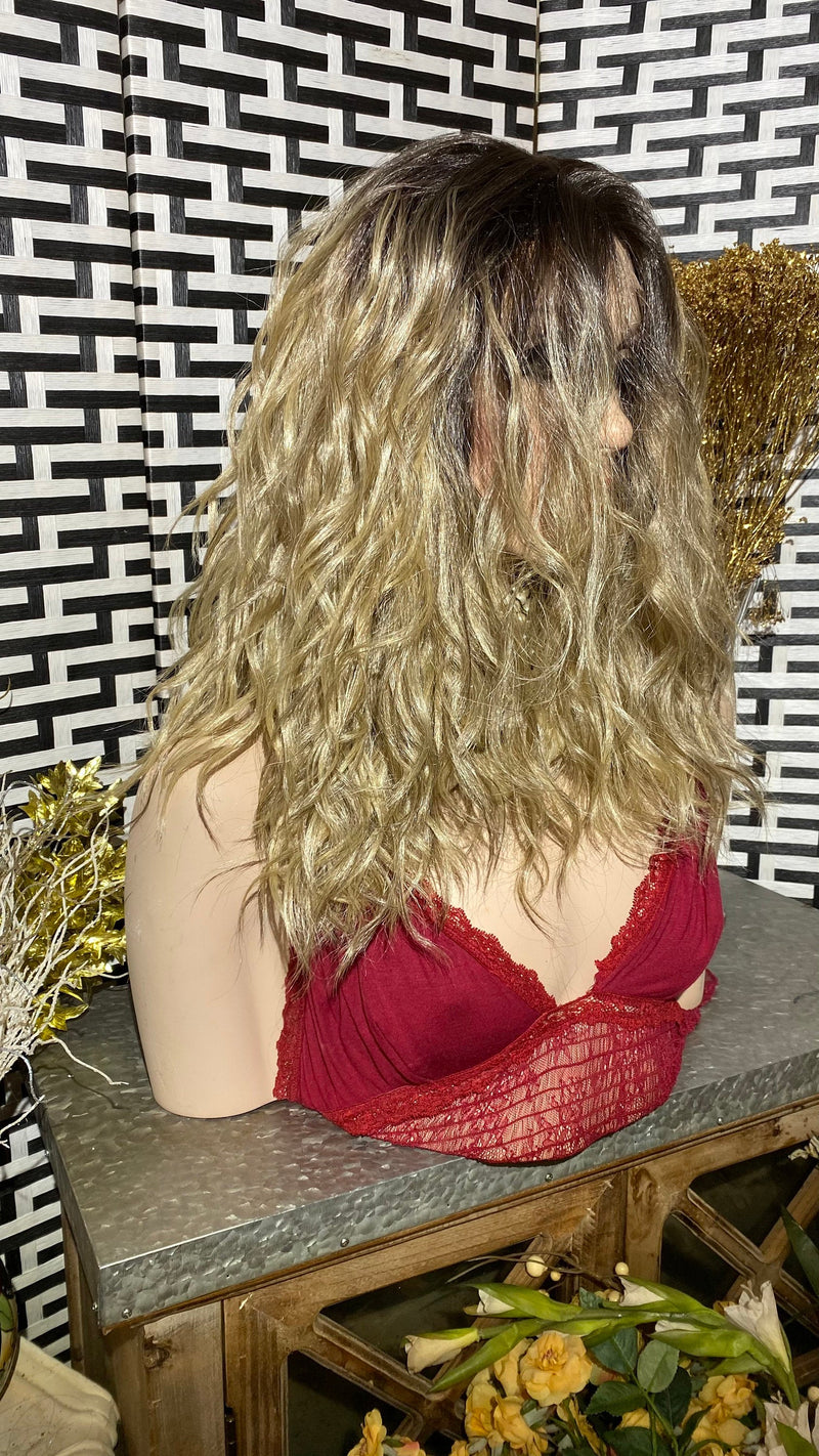 "BEACH BLONDE | 12"" Long Wavy layered Lace Front wig"