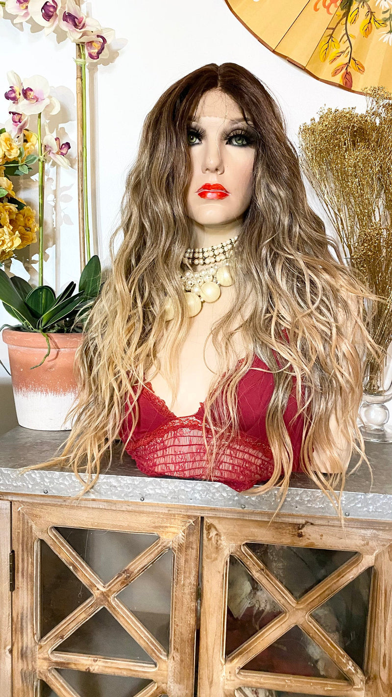 KADY* balayage BROWN waves |LUXURIOUS middle part lace front wig 22""