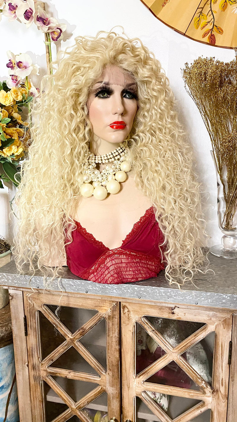"613 blonde curly hair | 13x1 HD lace front wig 26"" long w/ invisible hairline"