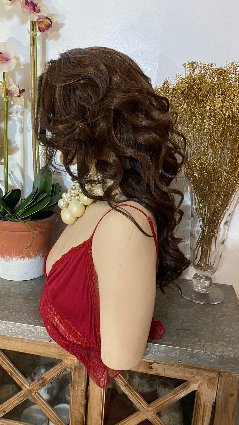 "CHINA |14"" brown volume curls hair