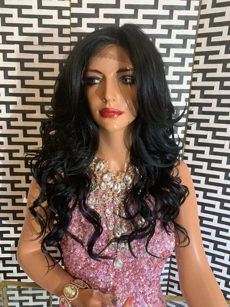 "LISSA lace frontal 13 x 4 wig 16"" long black hair"