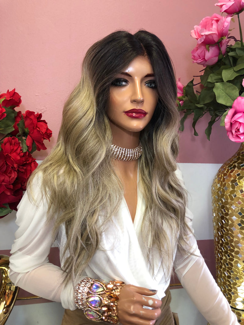 "Ash Blond Ombre Balayage' Lace Front Wig 14"" 0219 9"