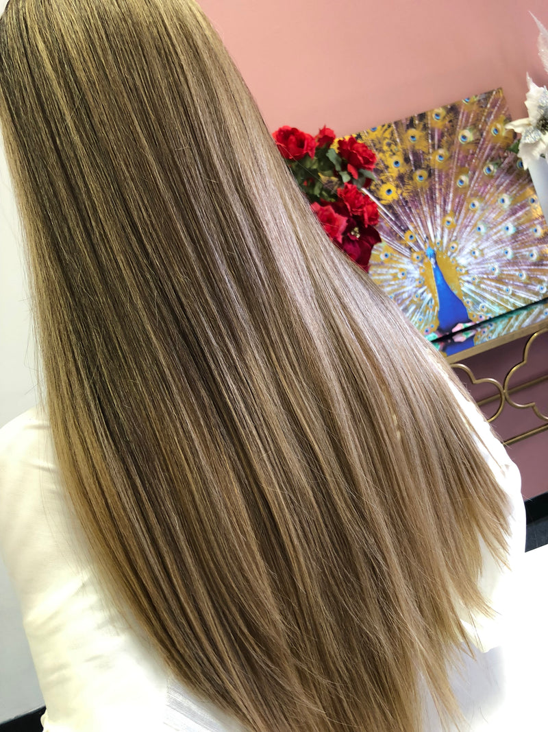 "Brown Blonde Ombre Swiss Lace Front Wig 24"" 0319"