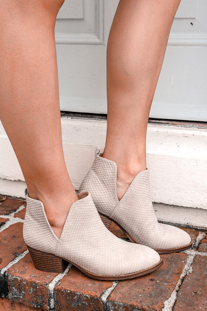 Chinese Laundry: Caring Bootie in Pale Taupe