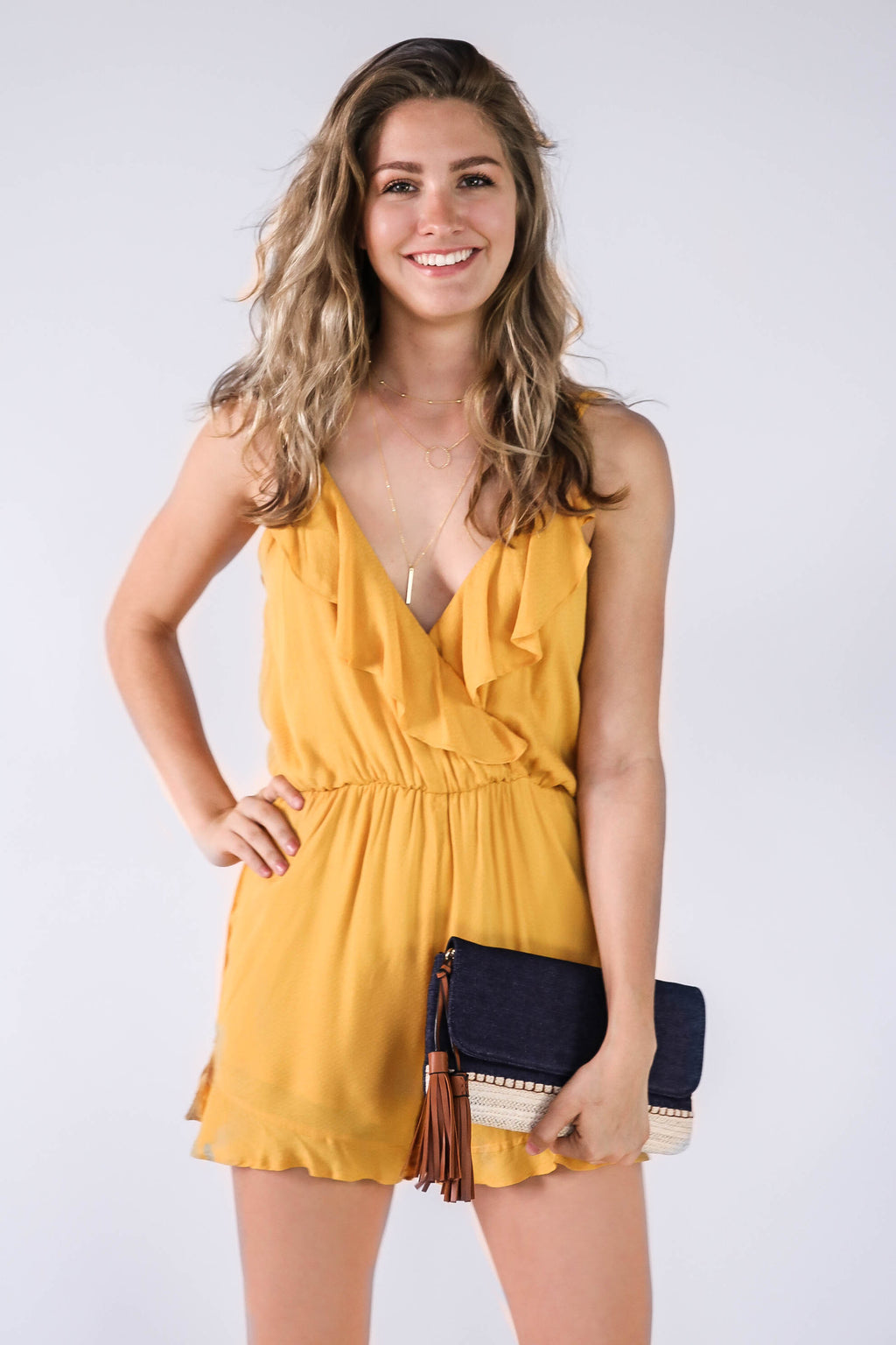 Double Trouble Romper in Marigold
