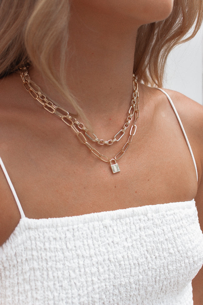 Lock Of Heart Necklace in Gold