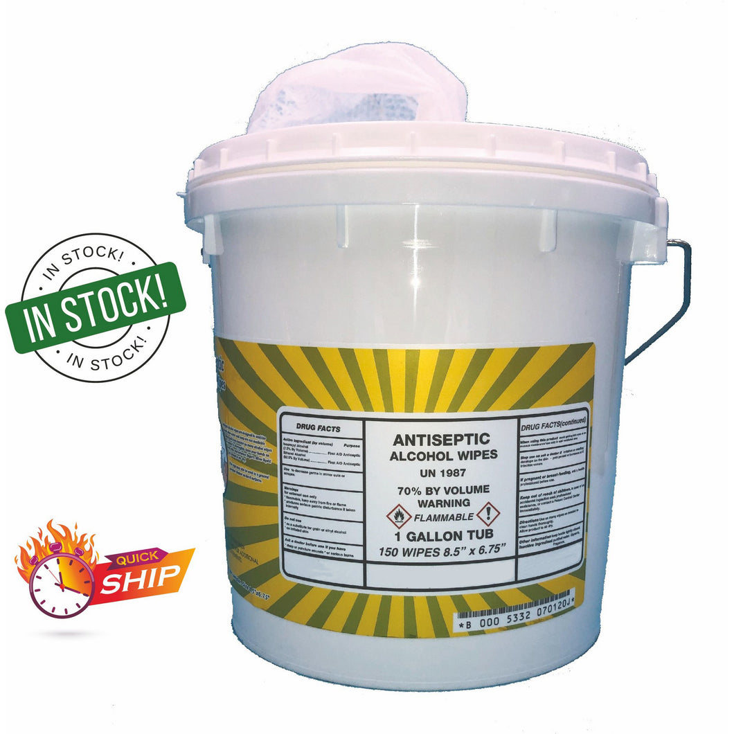 1 GALLON TUB OF ANTISEPTIC WIPES-150 WIPES PER TUB($31.25 EA)