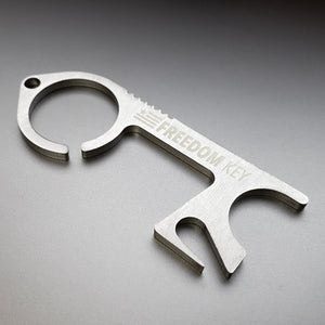 FREEDOM KEY STAINLESS STEEL NO TOUCH TOOL WITH KEY RING