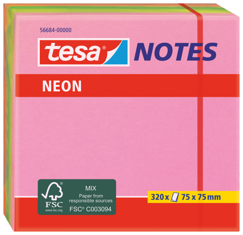 tesa® Neon Block Notes 320 sheets of 75x75mm