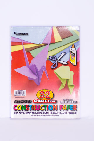 "Construction Paper Pad 9"" X 12""  - 32 Sheets"