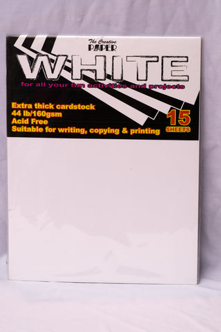 Cardstock White Color Pack 15 Sheets